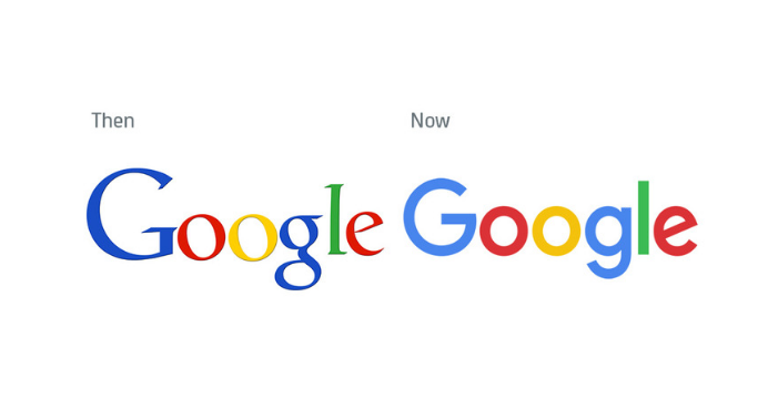 Google logo before and after
