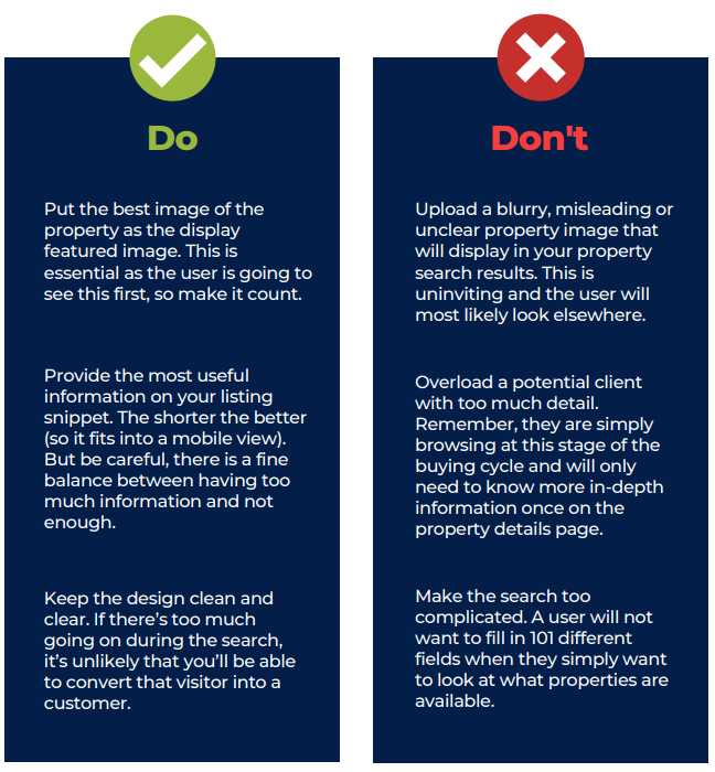 List of do's and don'ts to consider when it comes to creating a property search page